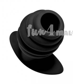Silicone Ribbed Hollow Anal Plug - Large